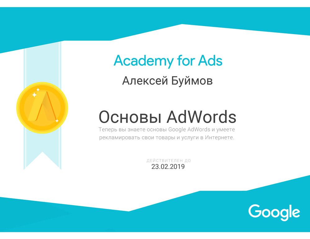 Сертификат AdWords Буймов Алексей